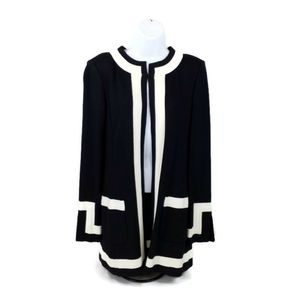 St. John Black White Open Front Cardigan Sweater